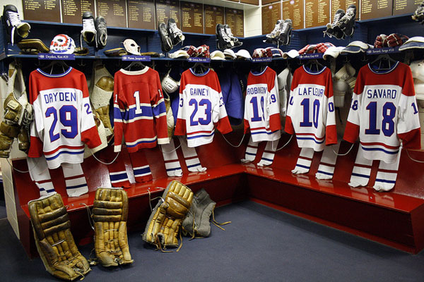 Montreal Canadiens locker room at the Hockey Hall of Famer